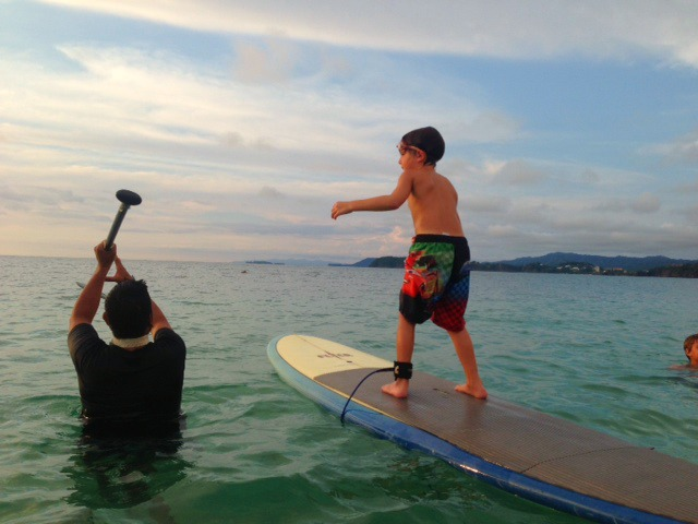 First time stand up paddleboarding in Costa Rica