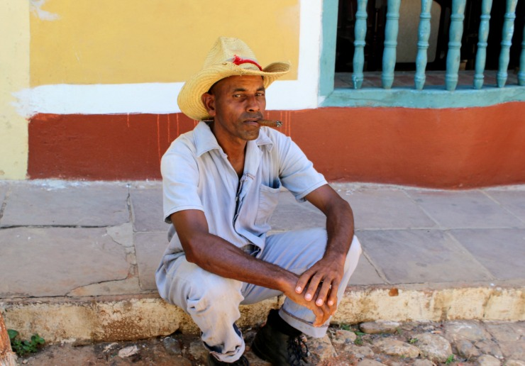 Trinidad Cuba Local Guy Smoking a Cigar