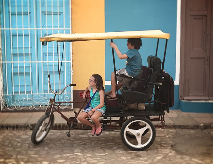 Trinidad Cuba Pedi Cab travel with Kids Wanderlust Living