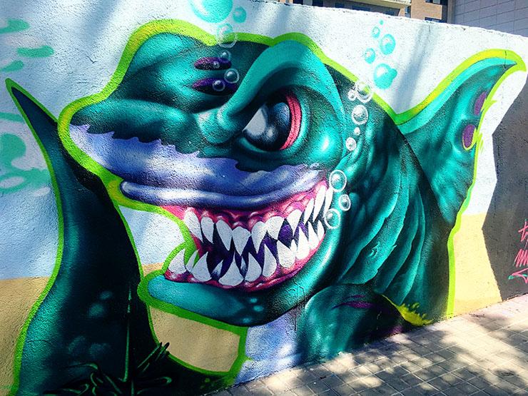 Shark Street Art barcelona Skate Park Wanderlust Living